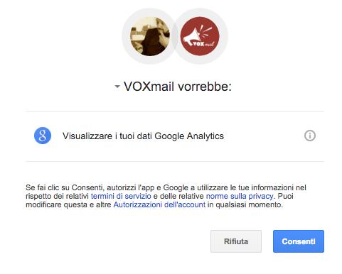 Autorizzazione Google Analytics